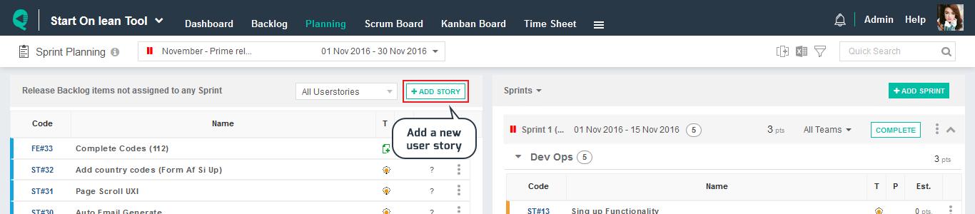 Sprint Planning List Tool